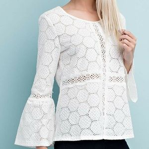 Solitaire Eyelet Lace Long Sleeve Black Top Small.